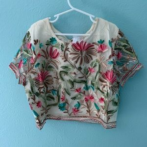 L'Atiste SZ Small Embroidered Ivory Crop Top NEW